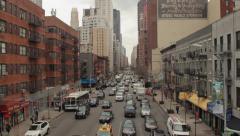 Urban big city buildings street aerial crane dolly moving shot Stock Footage