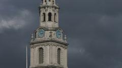 Trafalgar Square St Martins Church clock tower CU Stock Footage