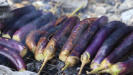 Stock Video Footage of Bbq eggplant on a grill with charcoa