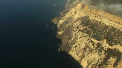 Aerial View: Flight over the Coast. Fiolent cape, near Balaklava, Crimea Stock Footage