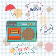 musical background with retro boom-box - stock illustration