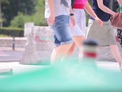 Bluejeans shorts couple walking street Stock Footage