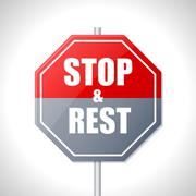 Stop and rest sign Stock Illustration