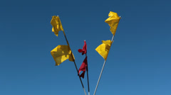 Red and yellow festival flags Stock Footage