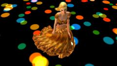 Dancer dancing merrily on dance floor.dress&gold skirt with colorful light. Stock Footage