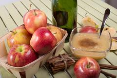 Healthy organic applesauce with cinnamon Stock Photos