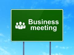 Business concept: Business Meeting and Business People on road sign background Stock Illustration