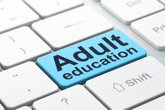 Education concept: Adult Education on computer keyboard background - stock illustration