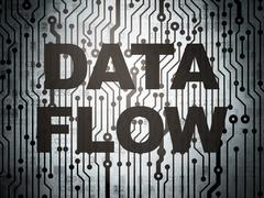 Data concept: circuit board with Data Flow - stock illustration