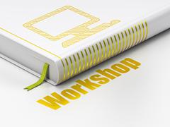 Education concept: book Computer Pc, Workshop on white background Stock Illustration