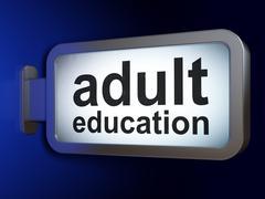 Education concept: Adult Education on billboard background - stock illustration