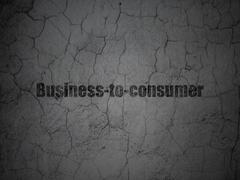 Business concept: Business-to-consumer on grunge wall background - stock illustration