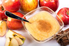 Stock Photo of healthy organic applesauce with cinnamon
