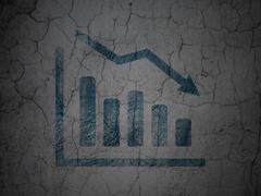 Stock Illustration of News concept: Decline Graph on grunge wall background