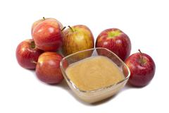 Applesauce on white background Stock Photos