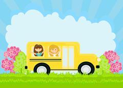 School bus heading to school with happy children Piirros