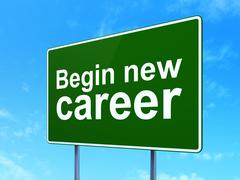 Stock Illustration of Finance concept: Begin New Career on road sign background
