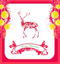 Stock Illustration of reindeer design abstract christmas card