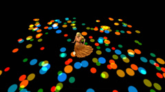 Dancer dancing merrily on dance floor.dress&gold skirt with colorful stagelight Stock Footage