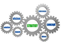 Stock Illustration of strategy and business concept words in silver grey gearwheels