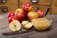 Stock Photo of applesauce on a wooden table