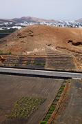 street  home viticulture  winery lanzarote - stock photo