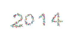 Year 2014 written with paper dots and blown away by the wind Stock Footage