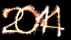 Year 2014 written with sparklers Stock Footage