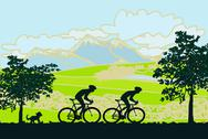 Stock Illustration of cycling man silhouette poster