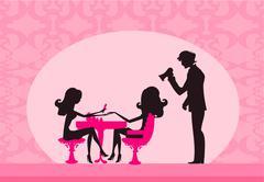 vector illustration of the beautiful woman in beauty salon - stock illustration