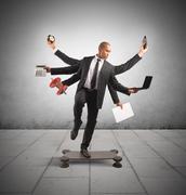 Multitasking businessman Stock Illustration