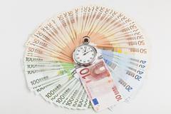 Euro circle wth stopwatch Stock Photos