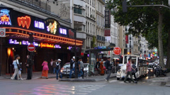 Street at where the famous Moulin Rouge Paris Stock Footage