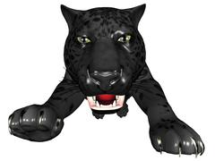 attacking black panther - stock illustration
