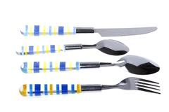 utensil spoon with fork on white - stock photo