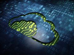 Cloud technology concept: Cloud on digital screen background - stock illustration