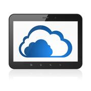 Cloud networking concept: Cloud on tablet pc computer Stock Illustration