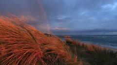 Coastal Rainbow at sunrise Stock Footage