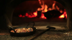 Wood Fired Meatballs Restaurant food Stock Footage