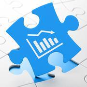 Marketing concept: Decline Graph on puzzle background Stock Illustration