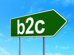 Stock Illustration of Business concept: B2c on road sign background