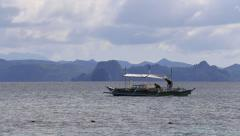 Boat on the sea in El Nido, Philippines Stock Footage
