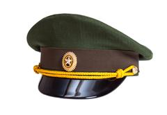 cap of russian army officer  isolated on white background - stock photo