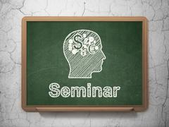 Education concept: Head With Finance Symbol and Seminar on chalkboard background - stock illustration
