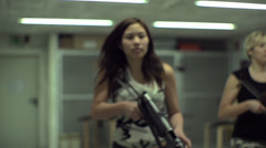 Asian Girl Aiming MP40 - Slow Motion - 005 - stock footage