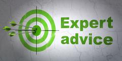Law concept: target and Expert Advice on wall background Stock Illustration