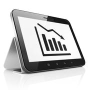 Stock Illustration of Advertising concept: Decline Graph on tablet pc computer