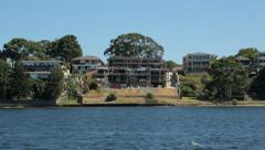 new building plot, perth waterfront houses on swan river, australia - stock footage
