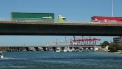 Traffic crosses stirling bridge on highway 5, fremantle, perth, australia Stock Footage