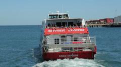 Rottnest express boat leaves fremantle, perth, australia Stock Footage